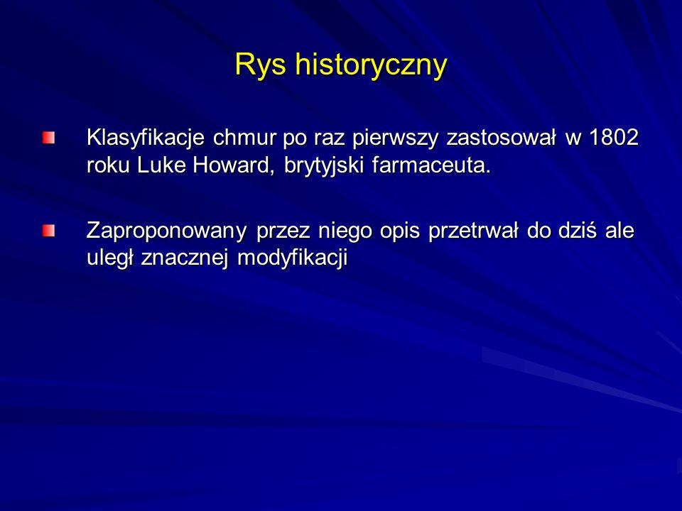 Rys historyczny Klasyfikacje chmur po raz pierwszy zastosował w 1802 roku Luke Howard, brytyjski farmaceuta.
