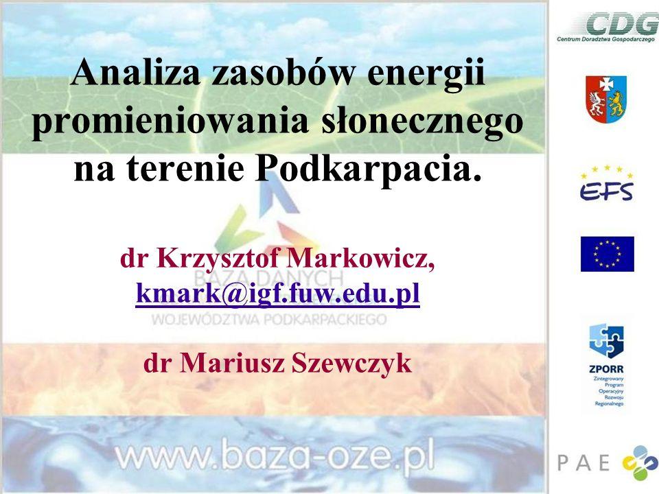 Analiza zasobów energii promieniowania słonecznego na terenie Podkarpacia.