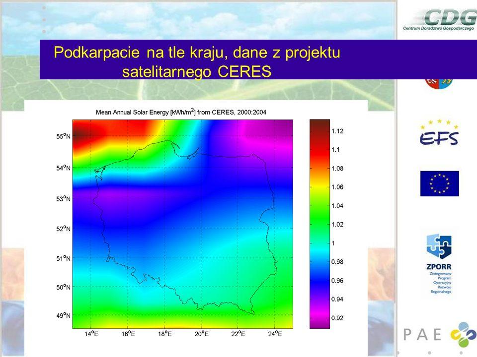 Podkarpacie na tle kraju, dane z projektu satelitarnego CERES