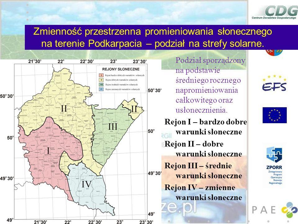 Zmienność przestrzenna promieniowania słonecznego na terenie Podkarpacia – podział na strefy solarne.