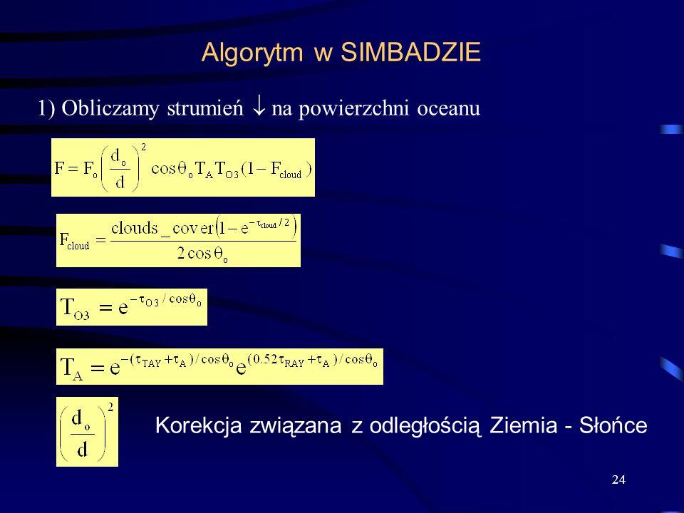 Algorytm w SIMBADZIE 1) Obliczamy strumień  na powierzchni oceanu