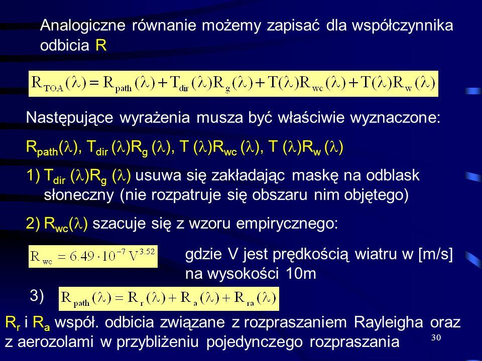 Analogiczne równanie możemy zapisać dla współczynnika odbicia R