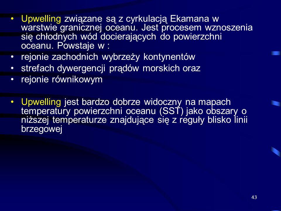 Upwelling związane są z cyrkulacją Ekamana w warstwie granicznej oceanu. Jest procesem wznoszenia się chłodnych wód docierających do powierzchni oceanu. Powstaje w :