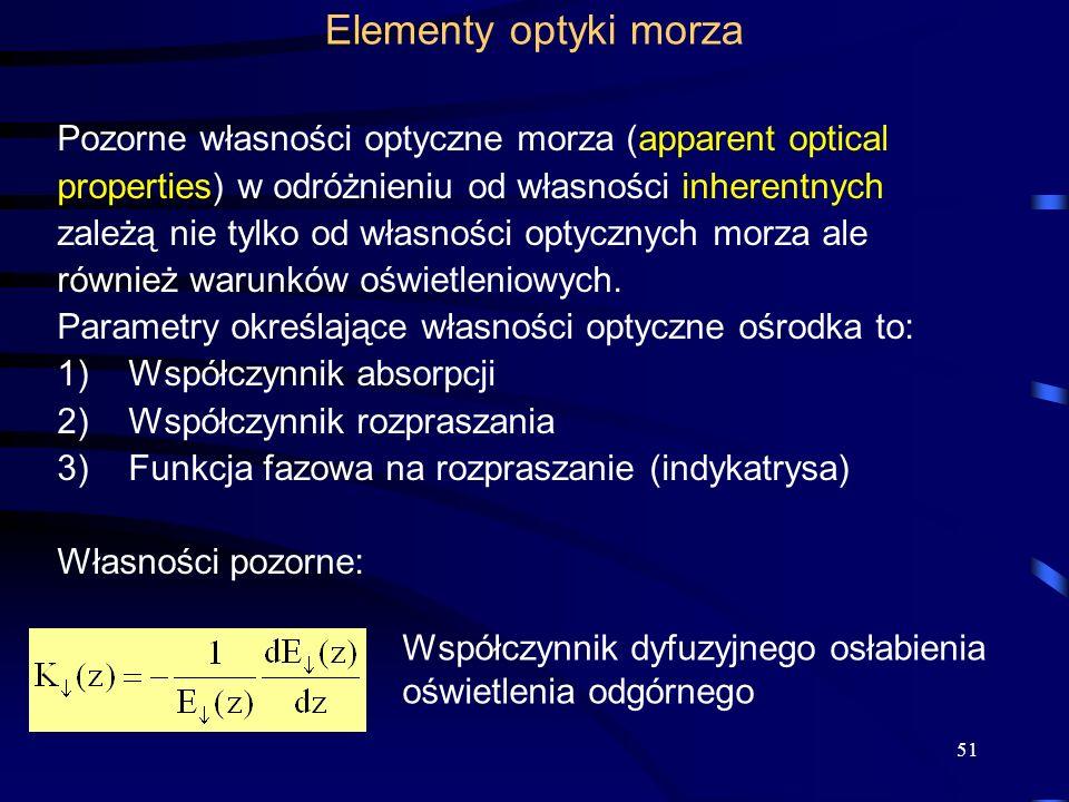 Elementy optyki morza Pozorne własności optyczne morza (apparent optical. properties) w odróżnieniu od własności inherentnych.