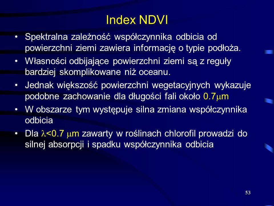 Index NDVI Spektralna zależność współczynnika odbicia od powierzchni ziemi zawiera informację o typie podłoża.