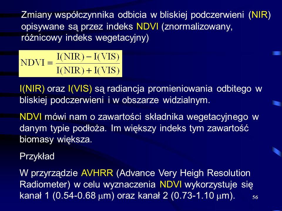 Zmiany współczynnika odbicia w bliskiej podczerwieni (NIR) opisywane są przez indeks NDVI (znormalizowany, różnicowy indeks wegetacyjny)