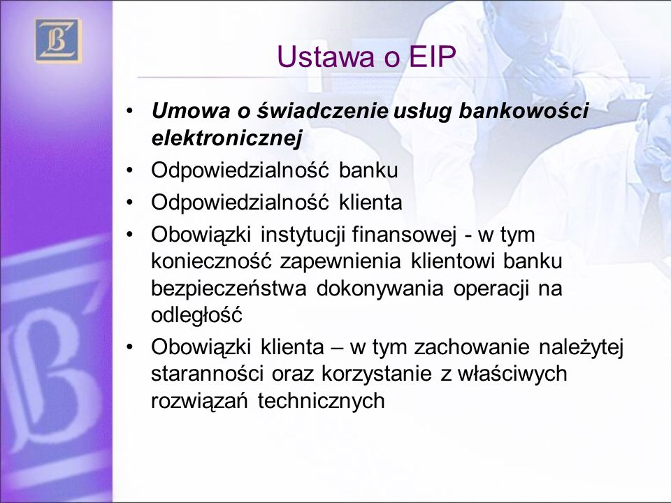 Ustawa o EIP Umowa o świadczenie usług bankowości elektronicznej