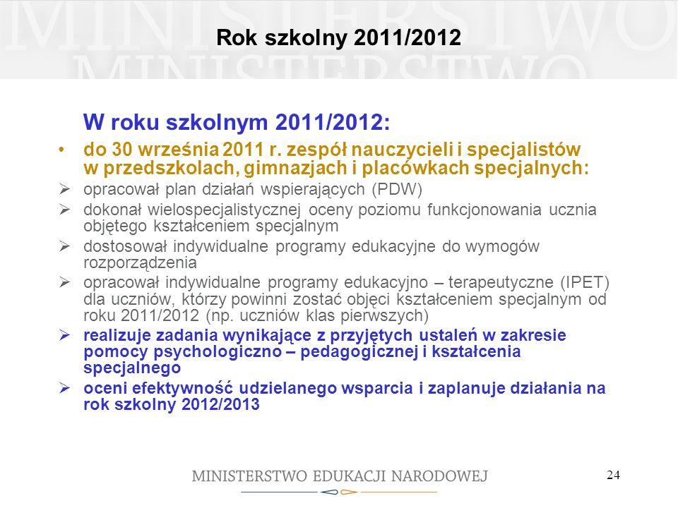 W roku szkolnym 2011/2012: Rok szkolny 2011/2012