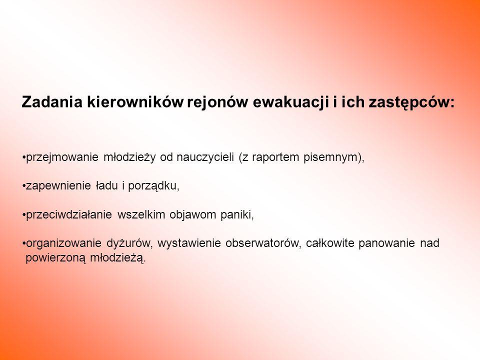 Zadania kierowników rejonów ewakuacji i ich zastępców:
