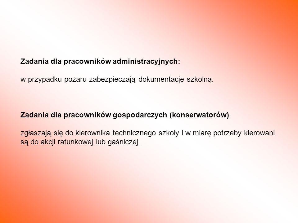 Zadania dla pracowników administracyjnych: