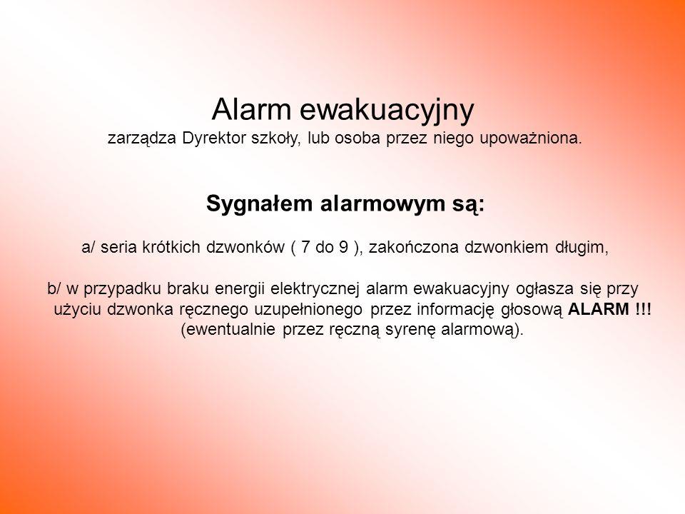 Sygnałem alarmowym są: