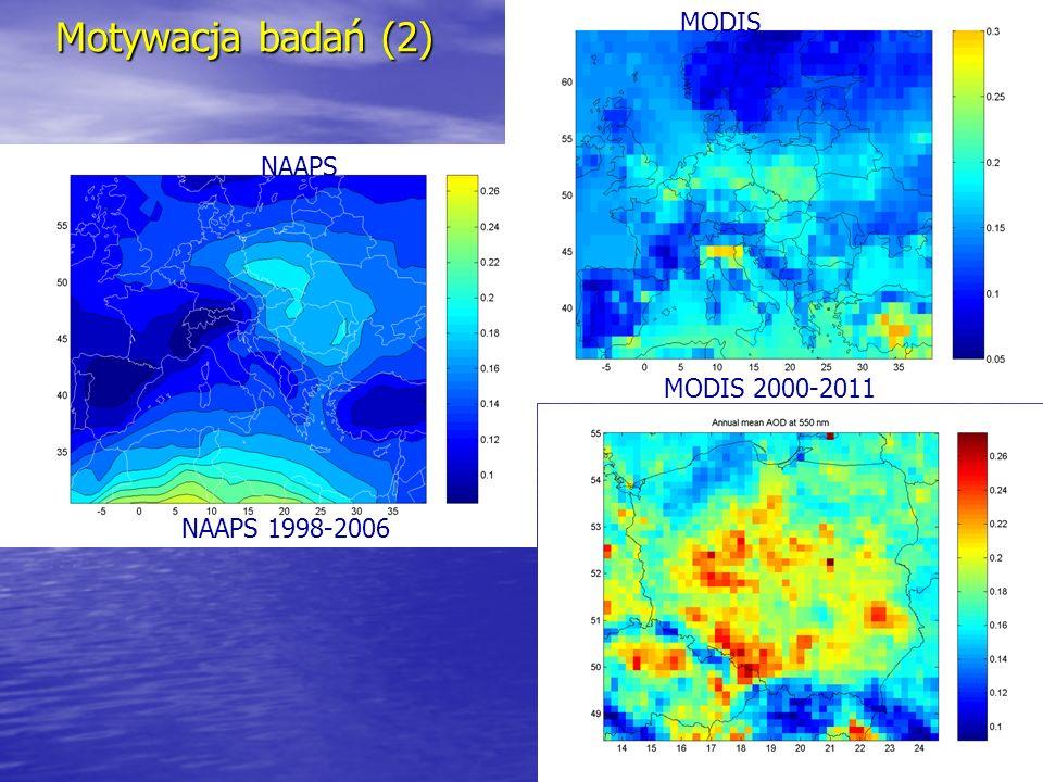 Motywacja badań (2) MODIS NAAPS MODIS 2000-2011 NAAPS 1998-2006