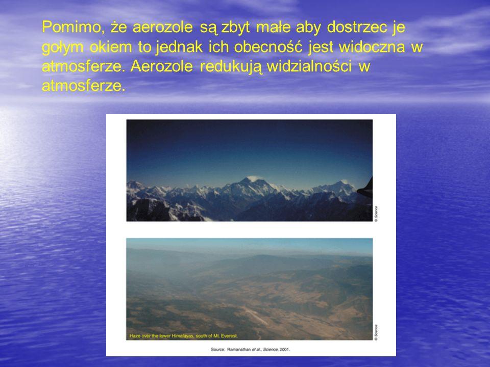 Pomimo, że aerozole są zbyt małe aby dostrzec je gołym okiem to jednak ich obecność jest widoczna w atmosferze.