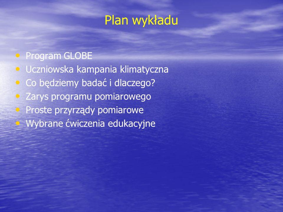 Plan wykładu Program GLOBE Uczniowska kampania klimatyczna