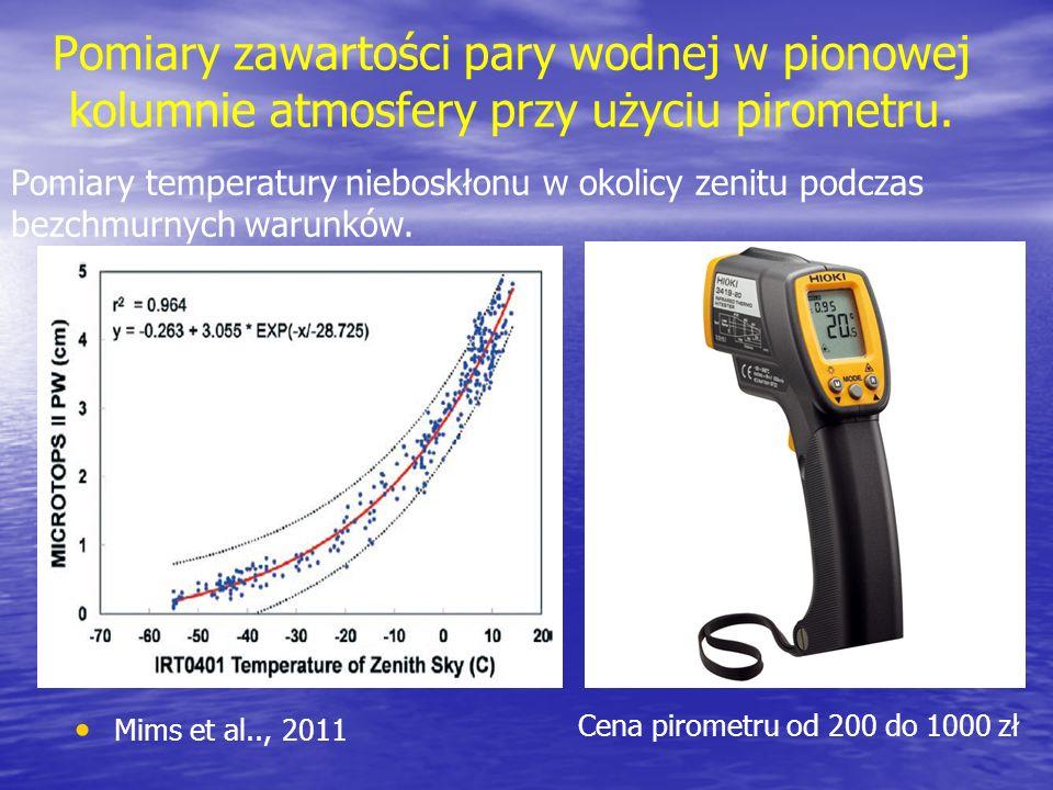 Pomiary zawartości pary wodnej w pionowej kolumnie atmosfery przy użyciu pirometru.
