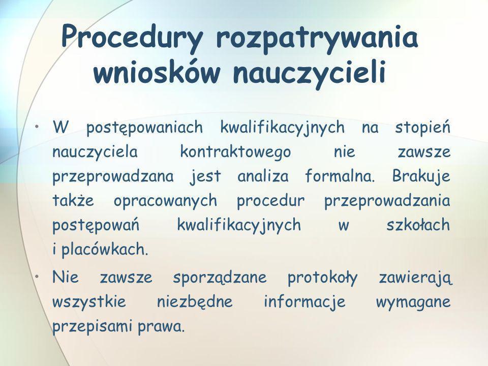 Procedury rozpatrywania wniosków nauczycieli