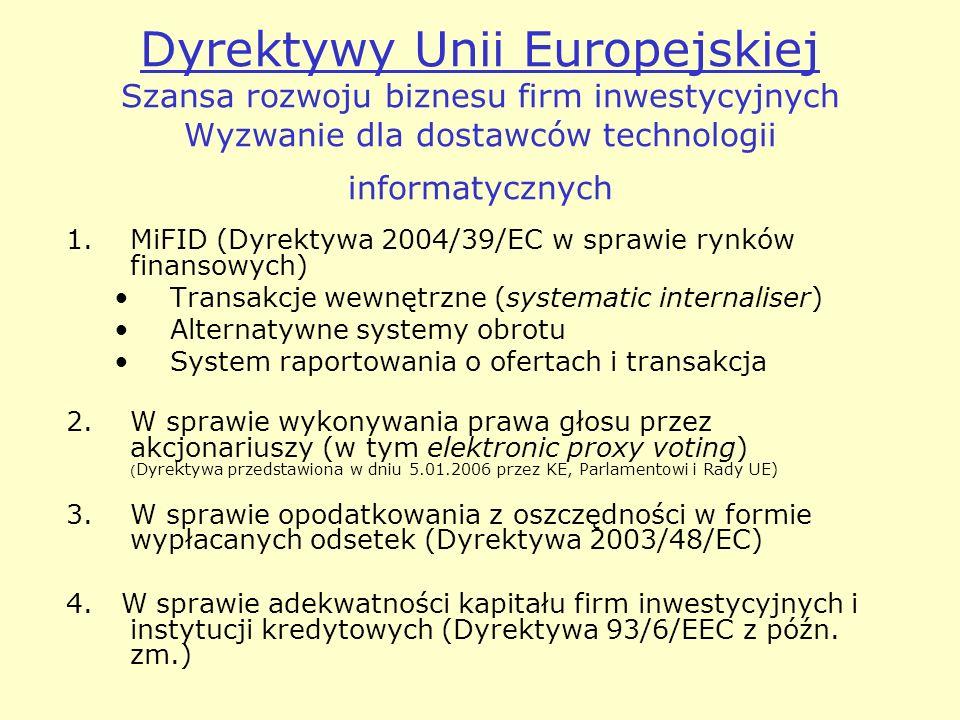 Dyrektywy Unii Europejskiej Szansa rozwoju biznesu firm inwestycyjnych Wyzwanie dla dostawców technologii informatycznych