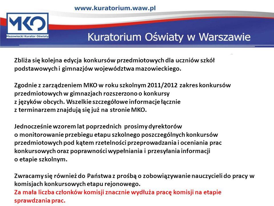 Zbliża się kolejna edycja konkursów przedmiotowych dla uczniów szkół podstawowych i gimnazjów województwa mazowieckiego.
