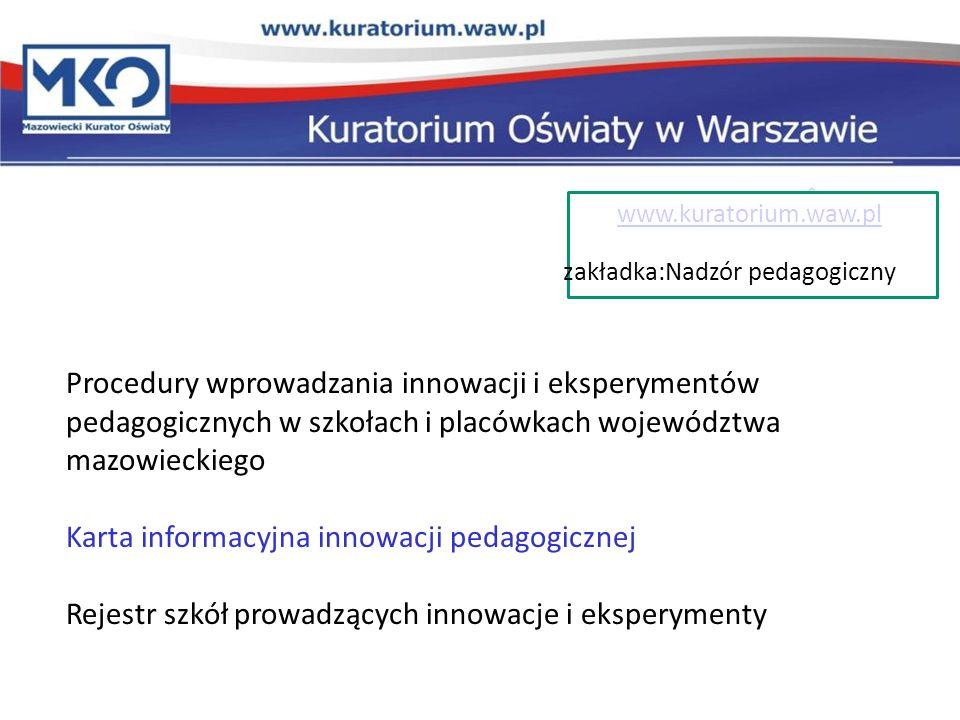 Karta informacyjna innowacji pedagogicznej
