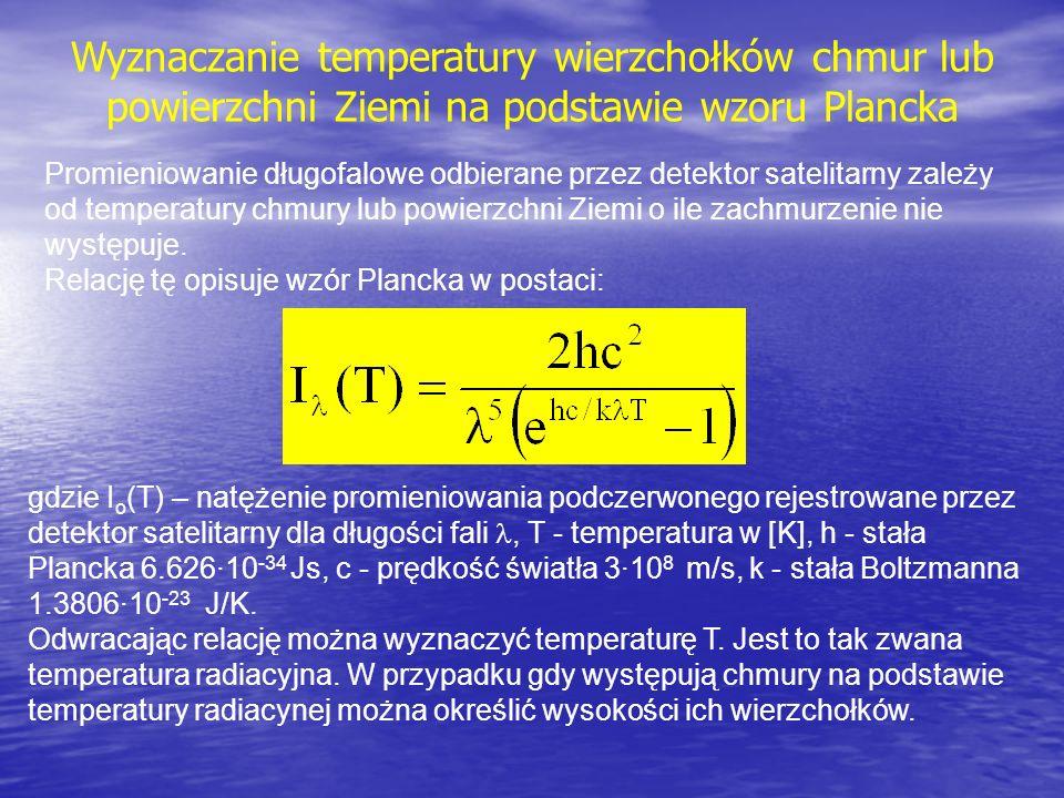 Wyznaczanie temperatury wierzchołków chmur lub powierzchni Ziemi na podstawie wzoru Plancka