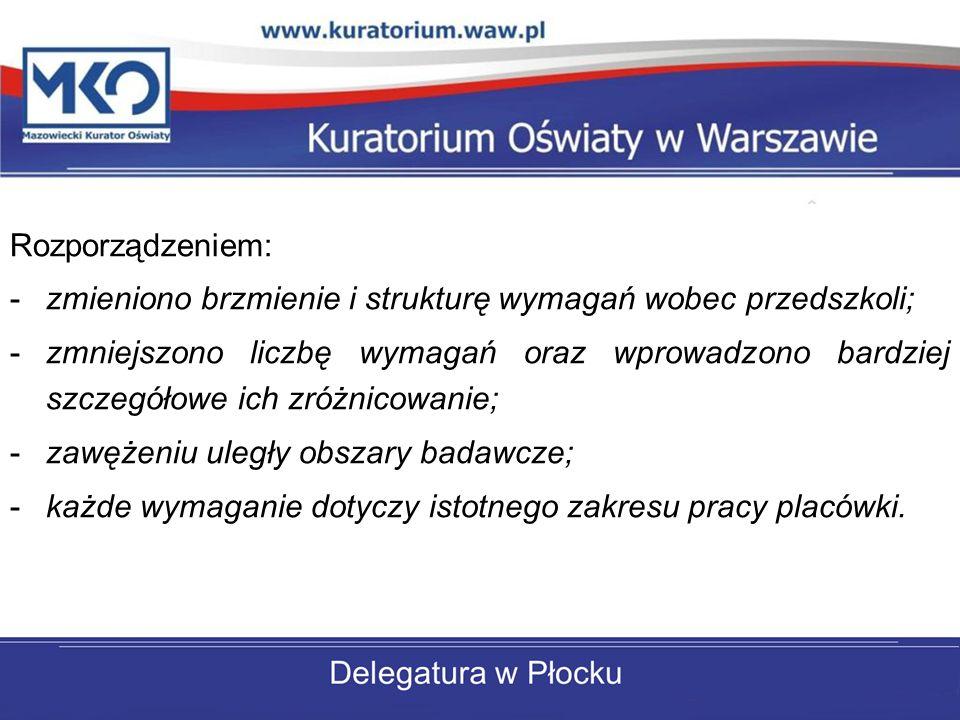 Rozporządzeniem: zmieniono brzmienie i strukturę wymagań wobec przedszkoli;
