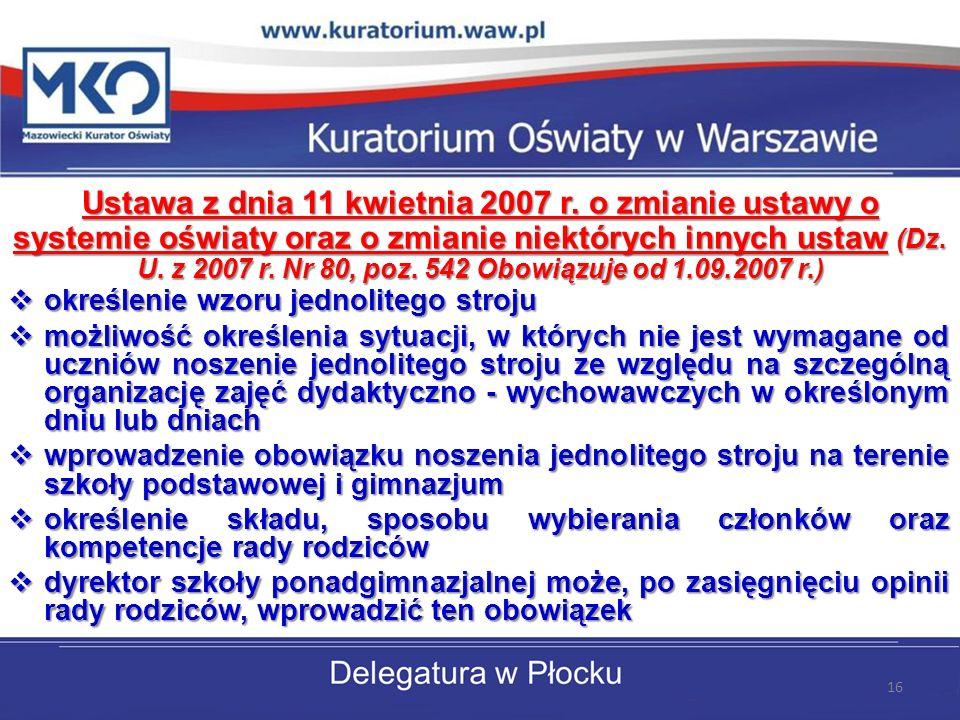 Ustawa z dnia 11 kwietnia 2007 r