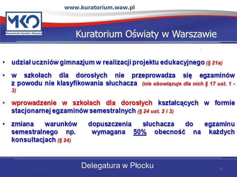 udział uczniów gimnazjum w realizacji projektu edukacyjnego (§ 21a)