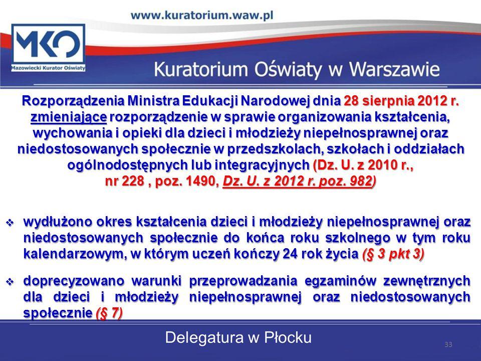 Rozporządzenia Ministra Edukacji Narodowej dnia 28 sierpnia 2012 r