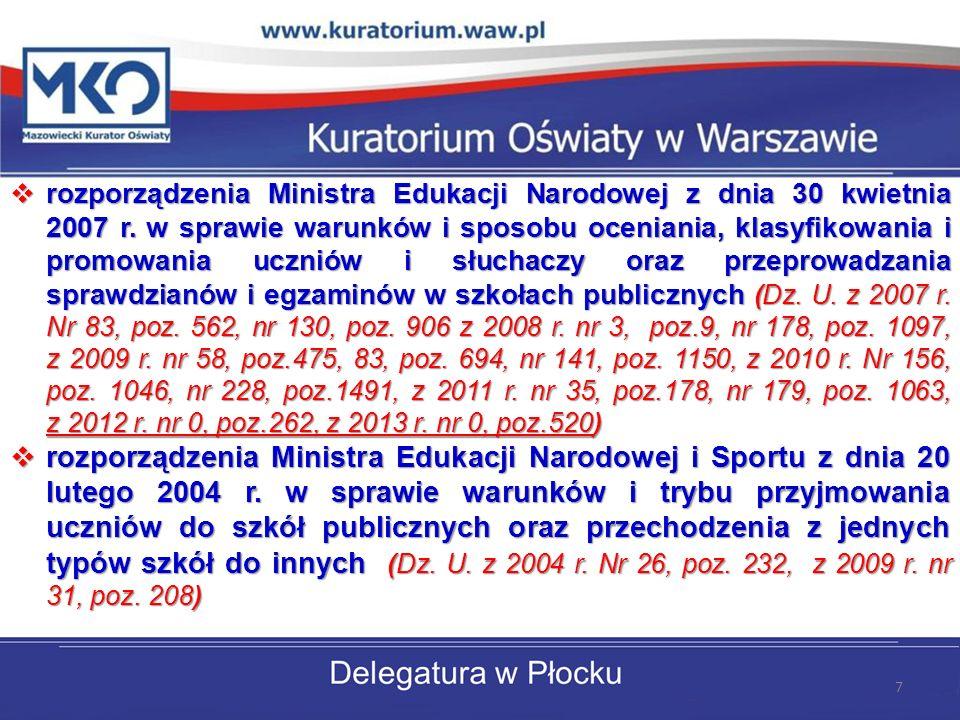 rozporządzenia Ministra Edukacji Narodowej z dnia 30 kwietnia 2007 r