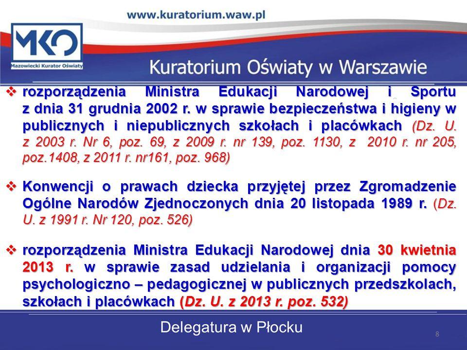 rozporządzenia Ministra Edukacji Narodowej i Sportu z dnia 31 grudnia 2002 r. w sprawie bezpieczeństwa i higieny w publicznych i niepublicznych szkołach i placówkach (Dz. U. z 2003 r. Nr 6, poz. 69, z 2009 r. nr 139, poz. 1130, z 2010 r. nr 205, poz.1408, z 2011 r. nr161, poz. 968)