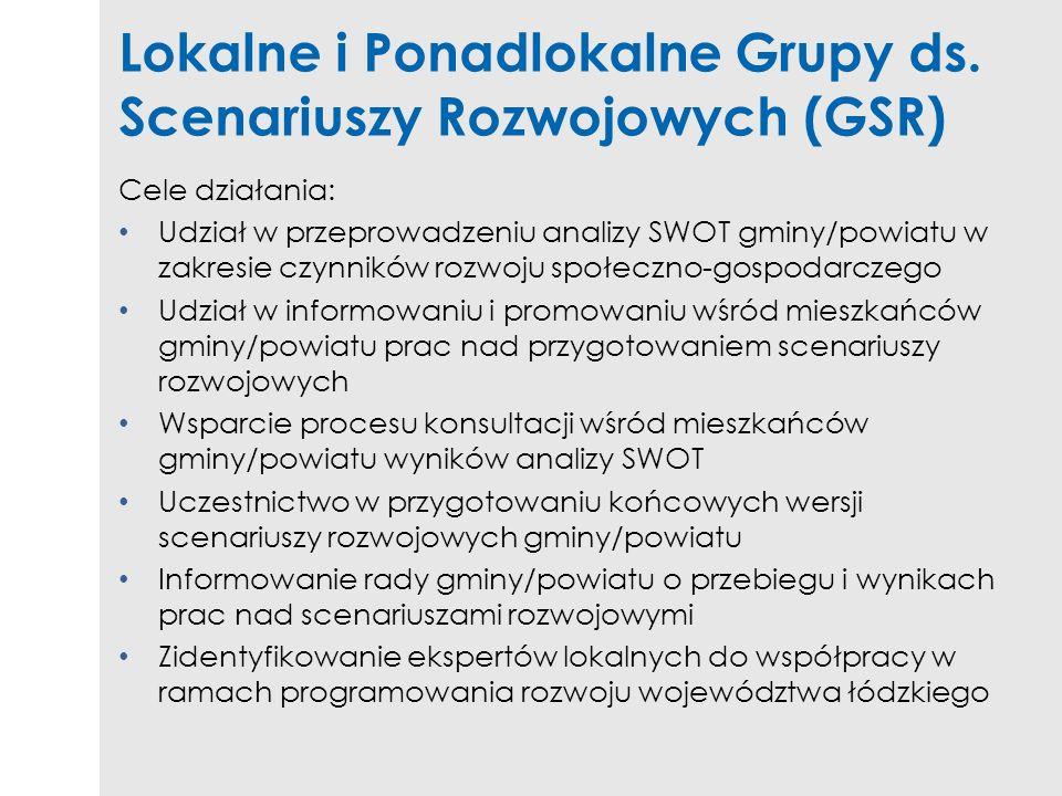 Lokalne i Ponadlokalne Grupy ds. Scenariuszy Rozwojowych (GSR)