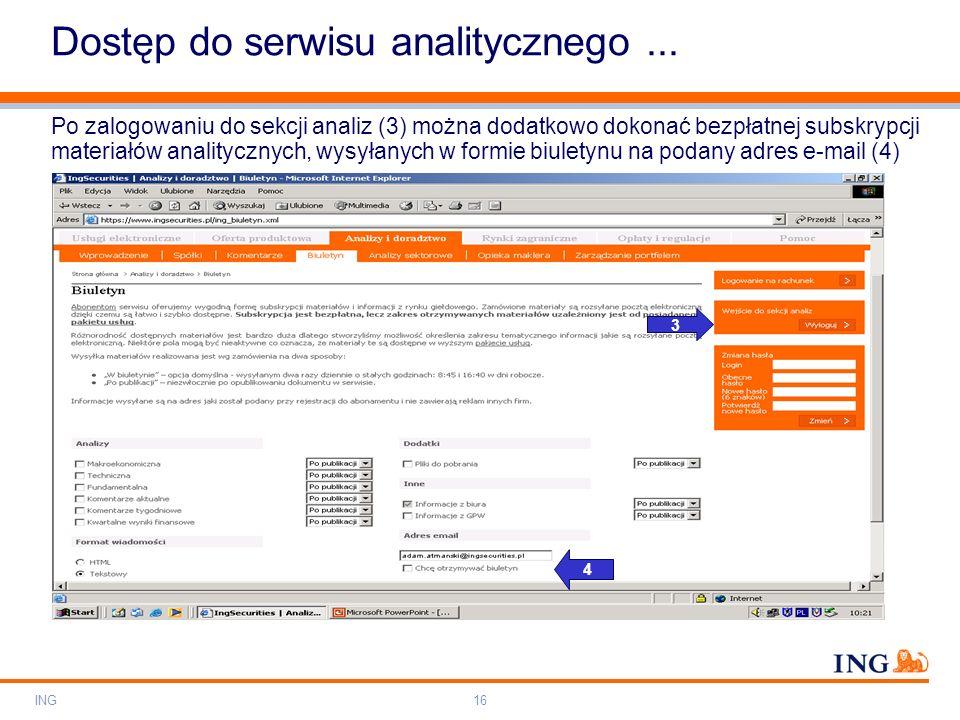 Dostęp do serwisu analitycznego ...
