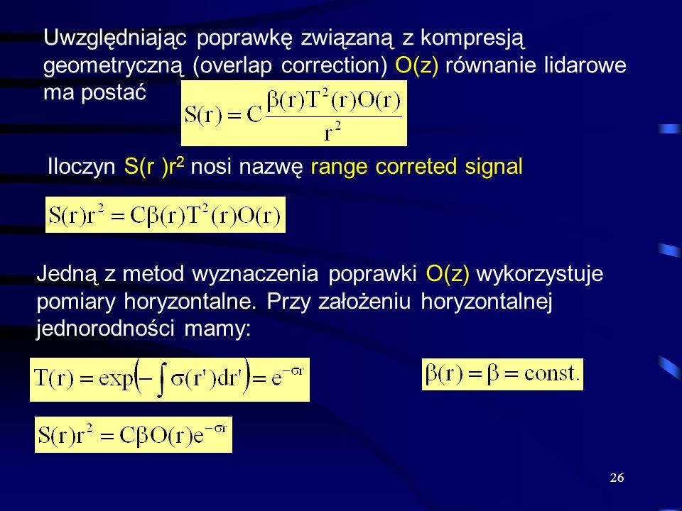 Iloczyn S(r )r2 nosi nazwę range correted signal