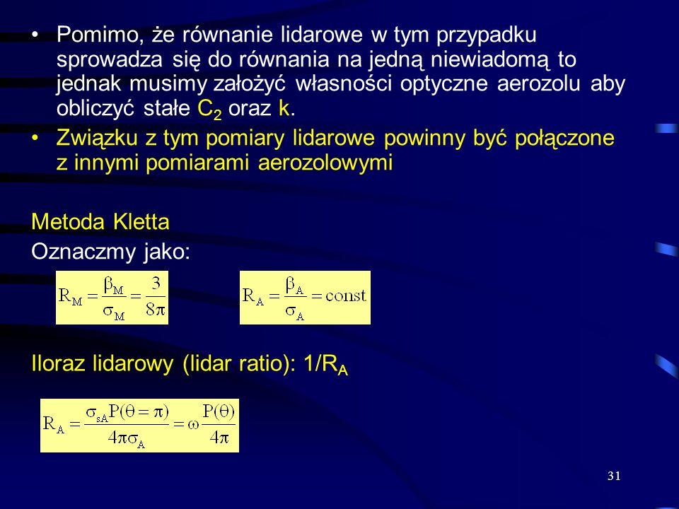 Pomimo, że równanie lidarowe w tym przypadku sprowadza się do równania na jedną niewiadomą to jednak musimy założyć własności optyczne aerozolu aby obliczyć stałe C2 oraz k.