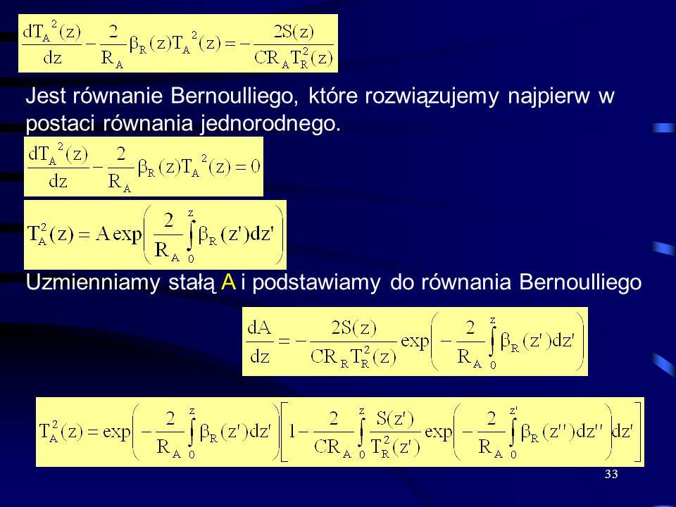 Jest równanie Bernoulliego, które rozwiązujemy najpierw w postaci równania jednorodnego.