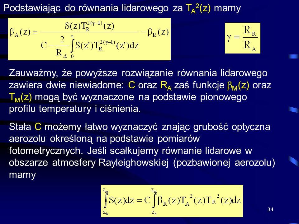 Podstawiając do równania lidarowego za TA2(z) mamy