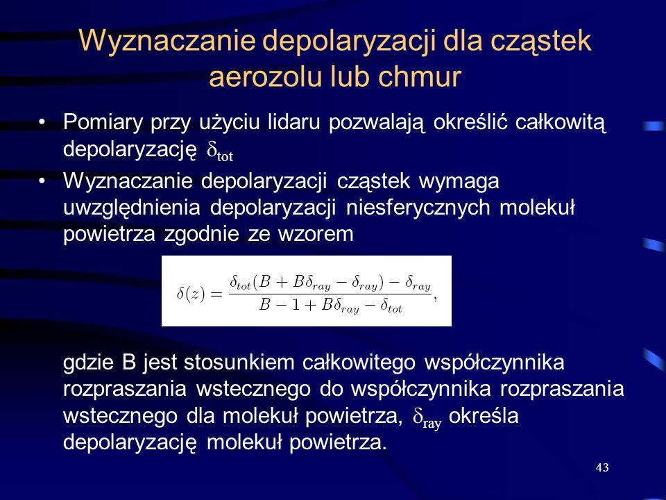 Wyznaczanie depolaryzacji dla cząstek aerozolu lub chmur