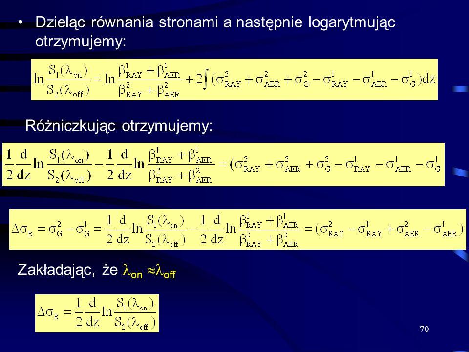 Dzieląc równania stronami a następnie logarytmując otrzymujemy: