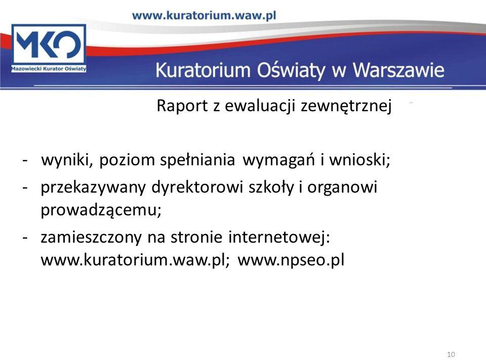 Raport z ewaluacji zewnętrznej