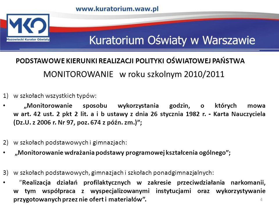 MONITOROWANIE w roku szkolnym 2010/2011
