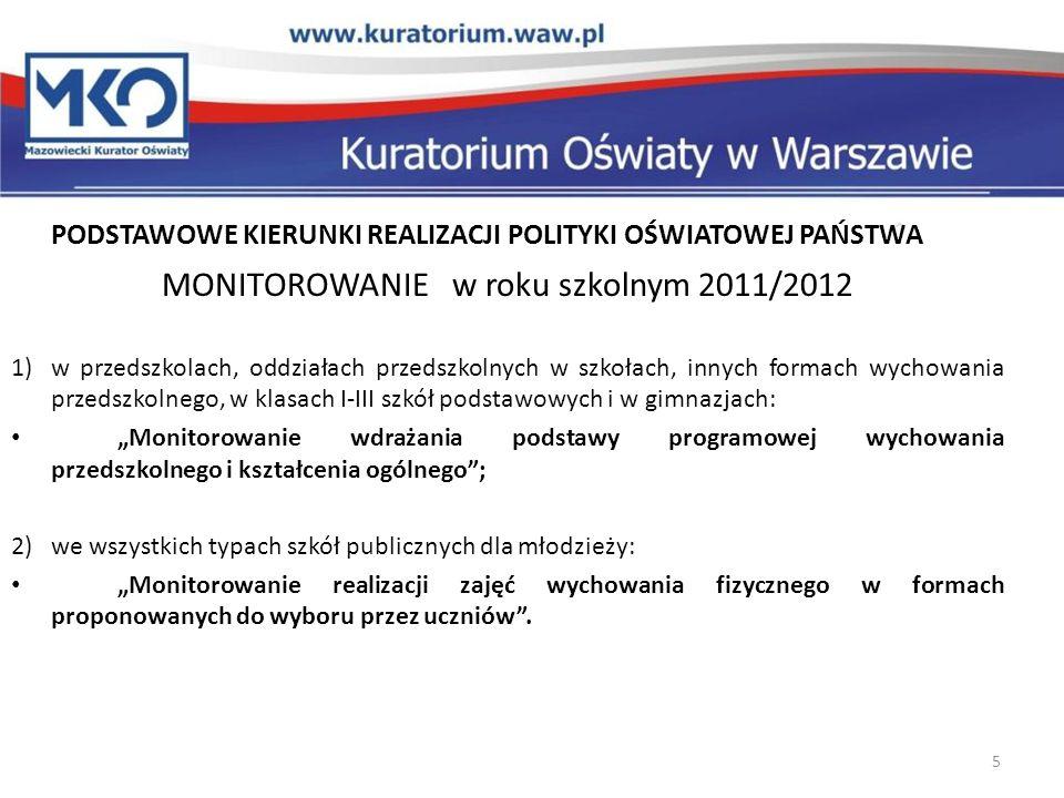 MONITOROWANIE w roku szkolnym 2011/2012