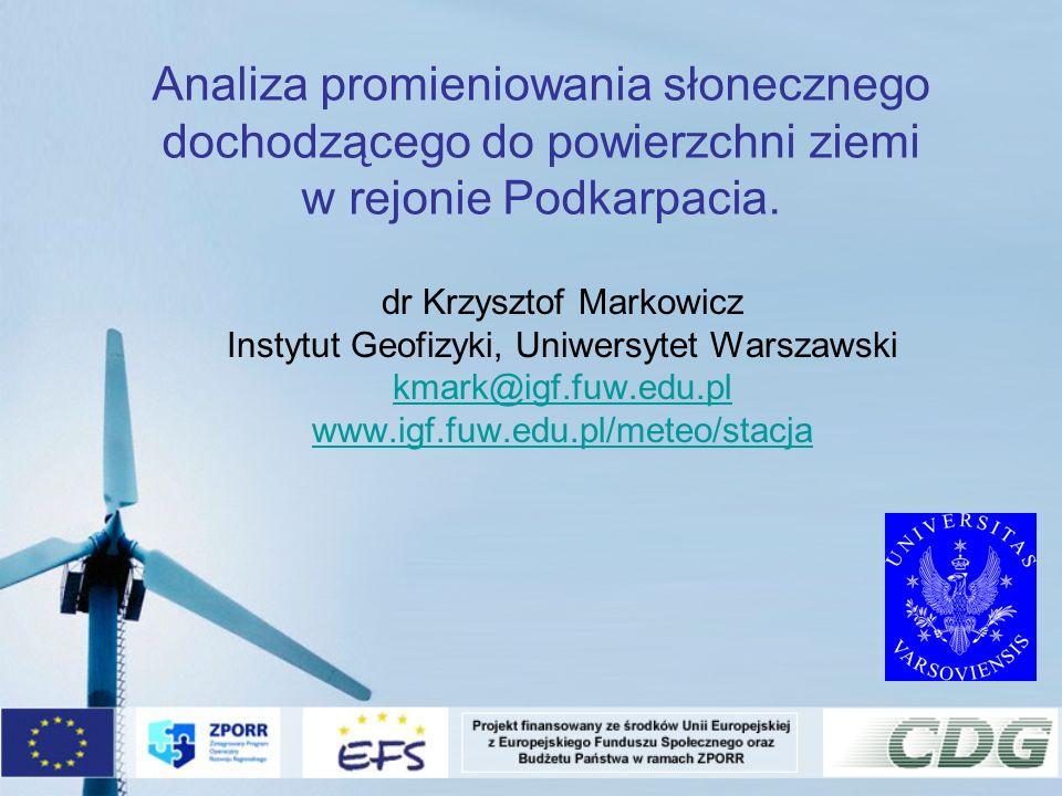 Analiza promieniowania słonecznego dochodzącego do powierzchni ziemi w rejonie Podkarpacia.