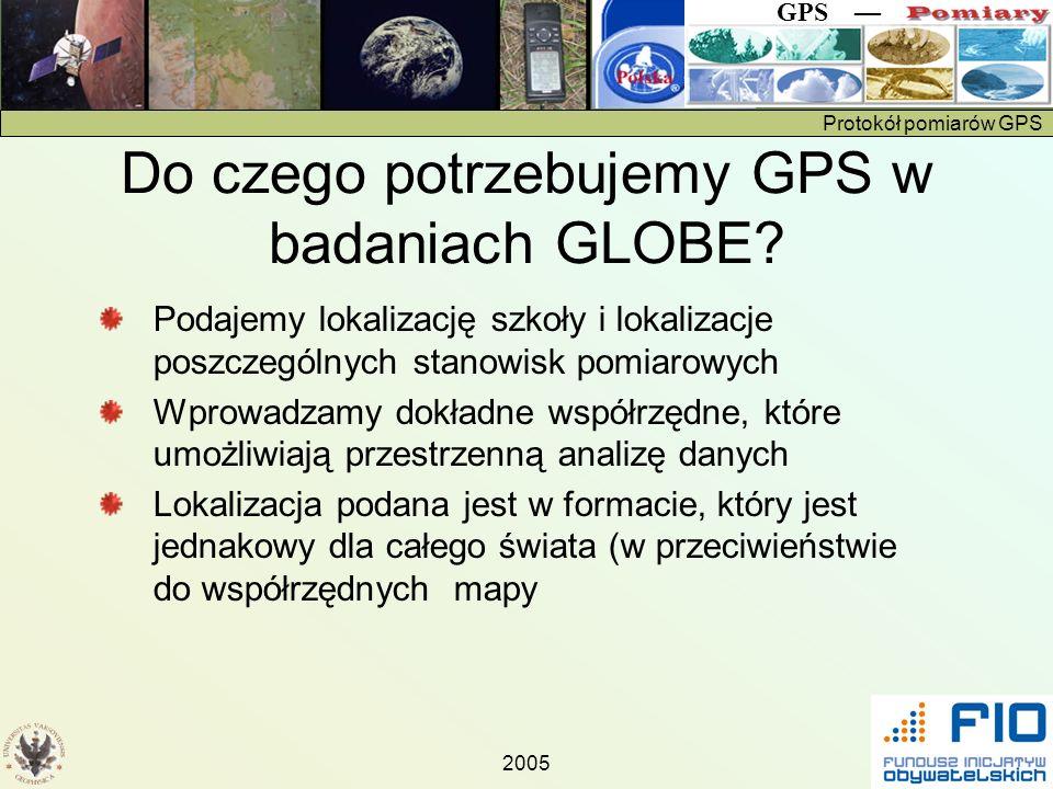 Do czego potrzebujemy GPS w badaniach GLOBE