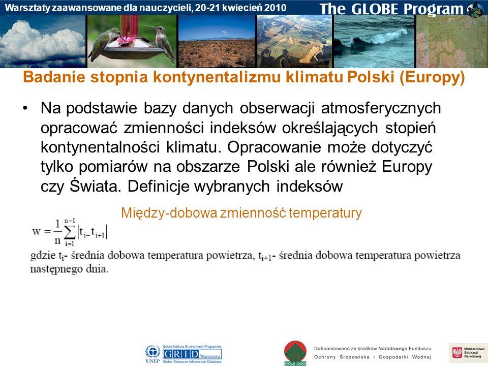 Badanie stopnia kontynentalizmu klimatu Polski (Europy)