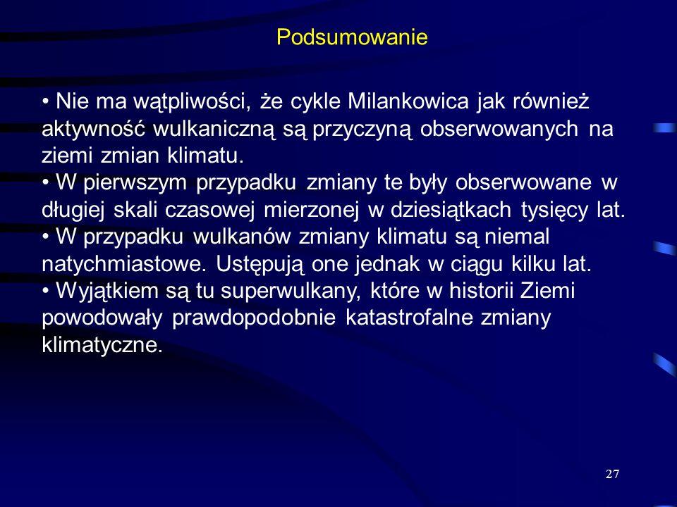 Podsumowanie Nie ma wątpliwości, że cykle Milankowica jak również aktywność wulkaniczną są przyczyną obserwowanych na ziemi zmian klimatu.