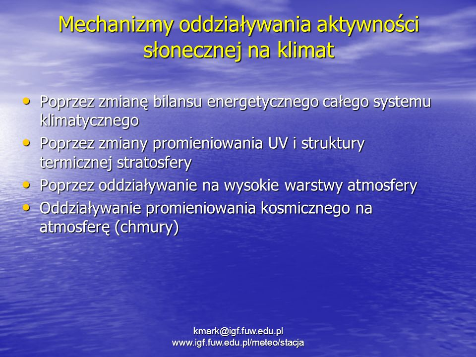 Mechanizmy oddziaływania aktywności słonecznej na klimat