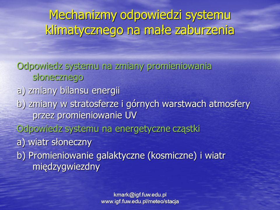 Mechanizmy odpowiedzi systemu klimatycznego na małe zaburzenia