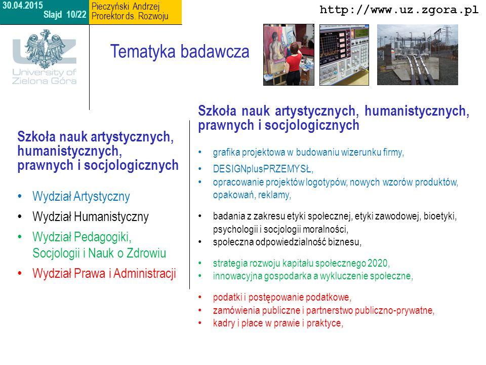 30.04.2015 Slajd 10/22. Pieczyński Andrzej. Prorektor ds. Rozwoju. http://www.uz.zgora.pl. Tematyka badawcza.