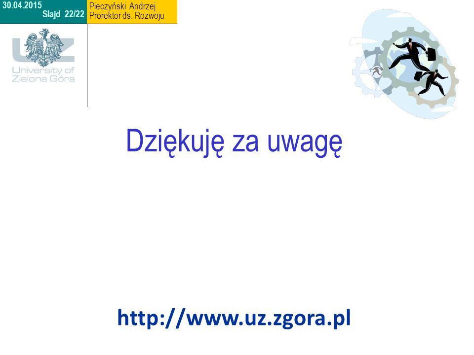 Dziękuję za uwagę http://www.uz.zgora.pl Pieczyński Andrzej 30.04.2015
