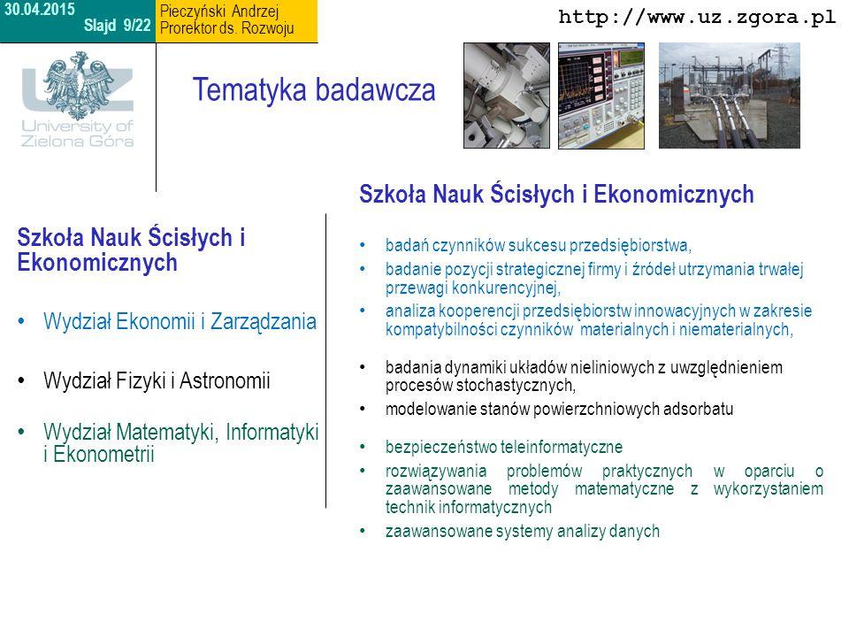 Tematyka badawcza Szkoła Nauk Ścisłych i Ekonomicznych